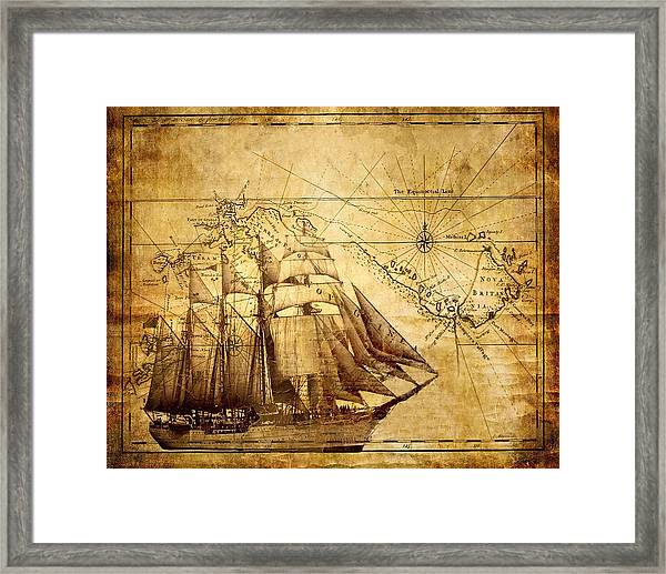 Vintage Ship Map Framed Print