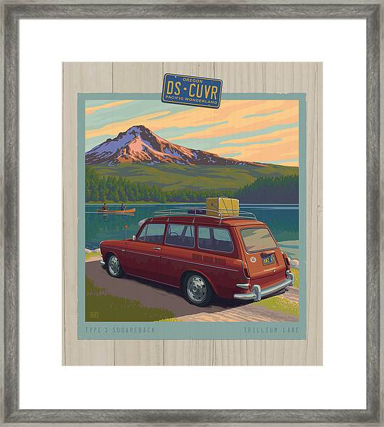 Vintage Squareback At Trillium Lake Framed Print