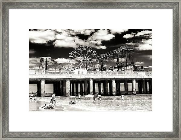 Vintage Steel Pier At Atlantic City Framed Print by John Rizzuto
