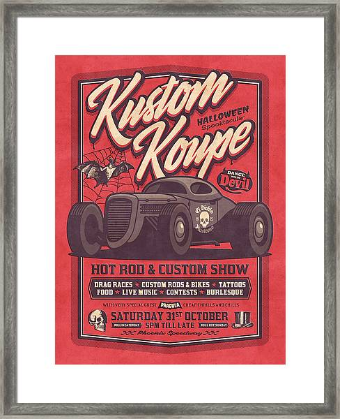 Vintage Style Fictional Halloween Hot Rod Show - Red Framed Print