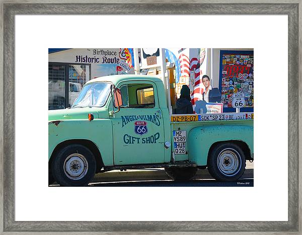 Vintage Truck With Elvis On Historic Route 66 Framed Print