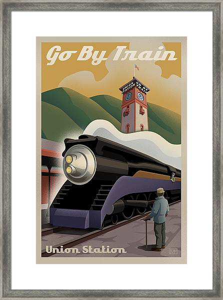 Vintage Union Station Train Poster Framed Print