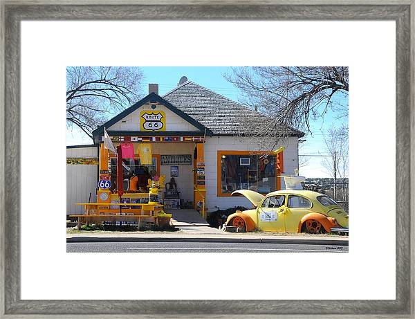 Vintage Vw Beetle At Seligman Antiques, Historic Route 66 Framed Print