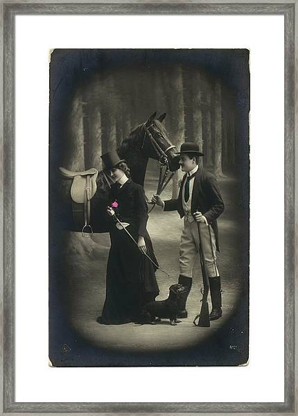 Vintage Young Woman And Man With Gun Framed Print by Gillham Studios