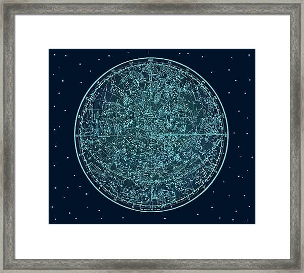 Vintage Zodiac Map - Teal Blue Framed Print