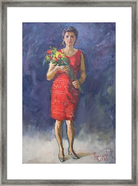 Viola In Red Framed Print