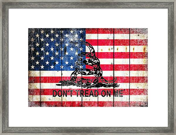 Viper On American Flag On Old Wood Planks Framed Print