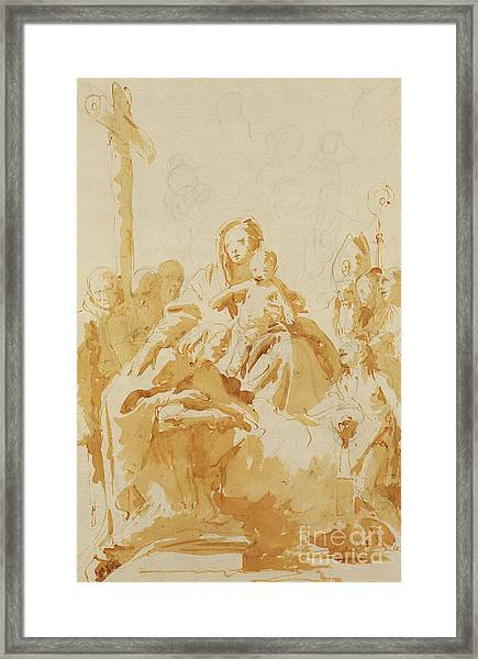 Virgin And Child Adored By Bishops, Monks And Women Framed Print