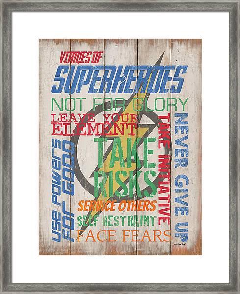 Virtues Of A Superhero Framed Print