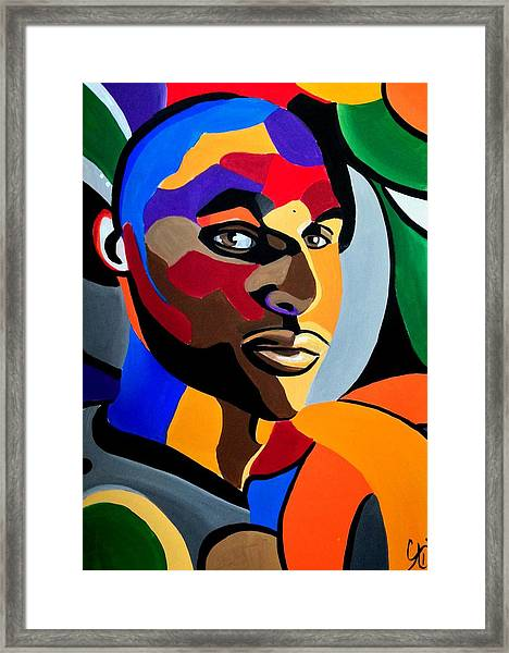 Visionaire Male Abstract Portrait Painting Chromatic Abstract Artwork Framed Print
