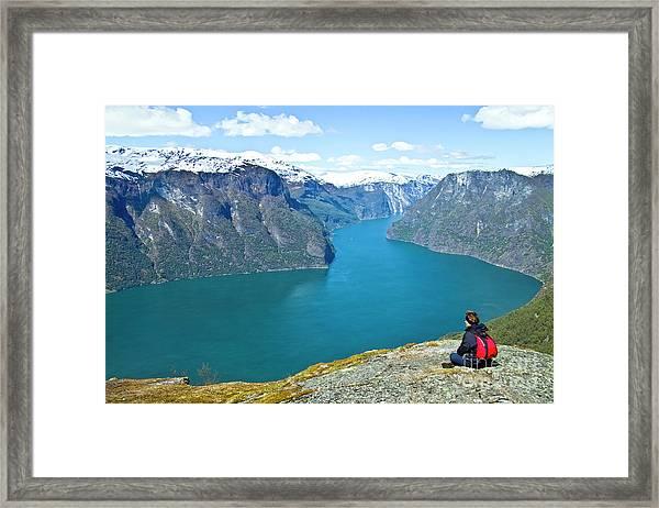 Visitor At Aurlandsfjord Framed Print