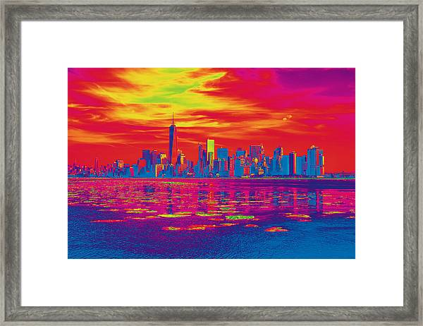 Vivid Skyline Of New York City, United States Framed Print