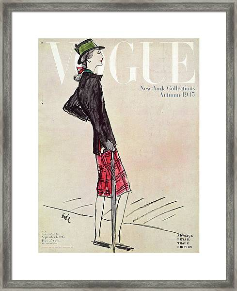 Vogue Cover Featuring A Woman In A Plaid Skirt Framed Print