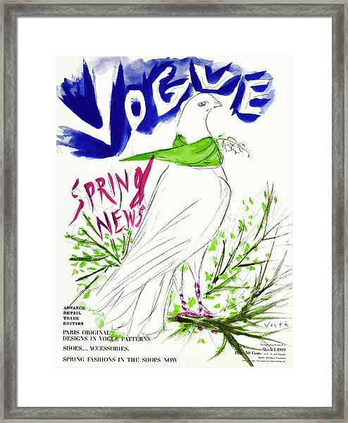 Vogue Cover Illustration Of A Dove Wearing Framed Print