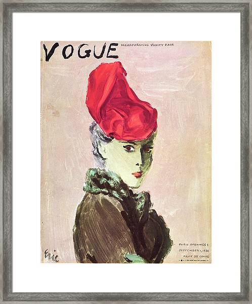 Vogue Cover Illustration Of A Woman Wearing A Red Framed Print