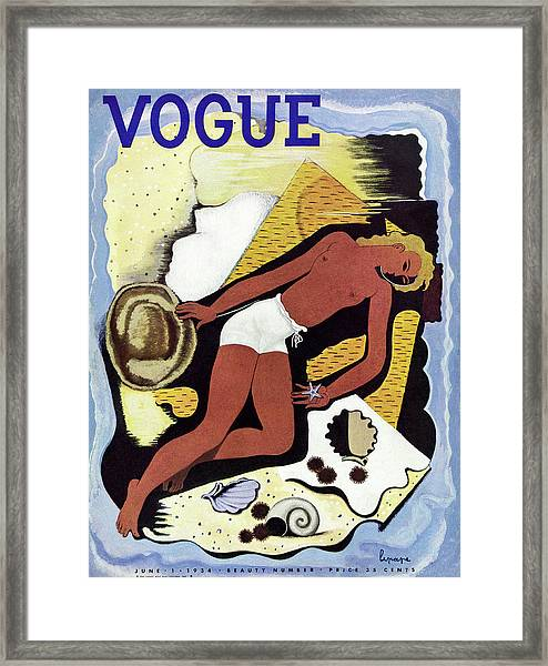 Vogue Magazine Cover Featuring A Topless Tanned Framed Print