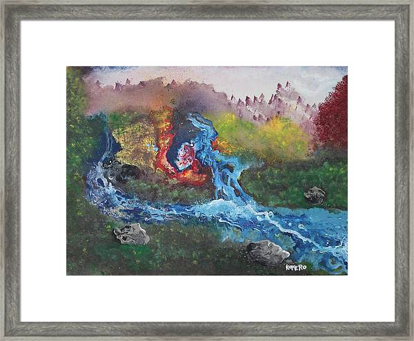 Framed Print featuring the painting Volcano Delta by Antonio Romero