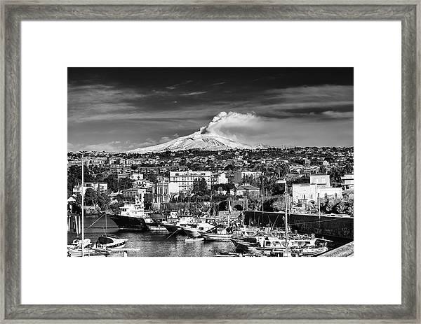 Volcano Etna Seen From Catania - Sicily. Framed Print