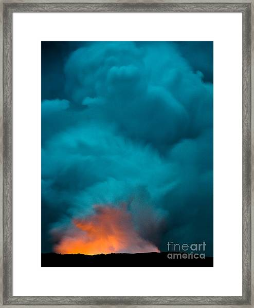 Volcano Smoke And Fire Framed Print