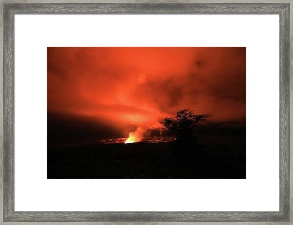 Volcano Under The Mist Framed Print