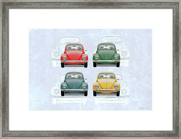Volkswagen Type 1 - Variety Of Volkswagen Beetle On Vintage Background Framed Print