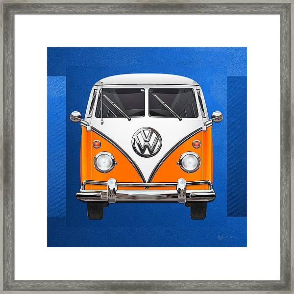 Volkswagen Type - Orange And White Volkswagen T 1 Samba Bus Over Blue Canvas Framed Print