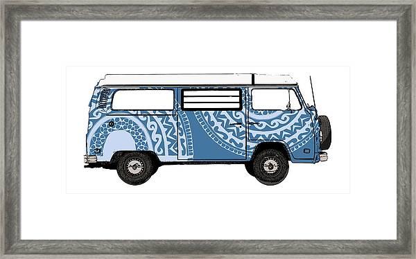 Vw Blue Van Framed Print