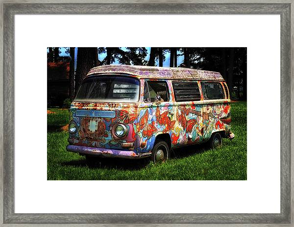 Vw Psychedelic Microbus Framed Print