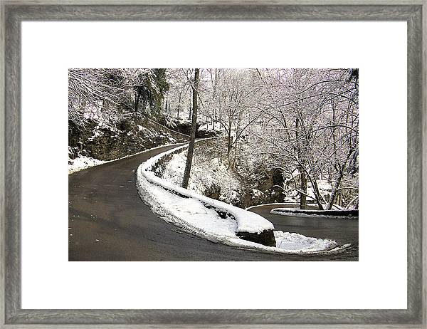 W Road In Winter Framed Print
