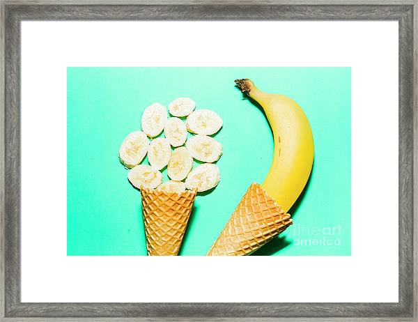 Waffle Cones With Fresh Banana Framed Print