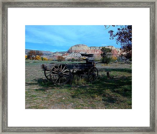 Framed Print featuring the photograph Wagon And Kitchen Mesa by Joseph R Luciano