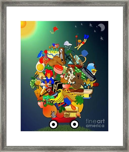 Wagon Of Toys Without White Frame Framed Print