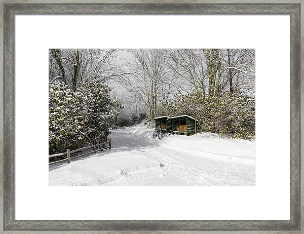 Framed Print featuring the photograph Wagon Wheels And Firewood by D K Wall