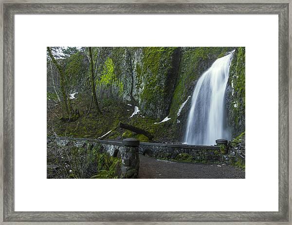 Wahkeena Falls Bridge Framed Print