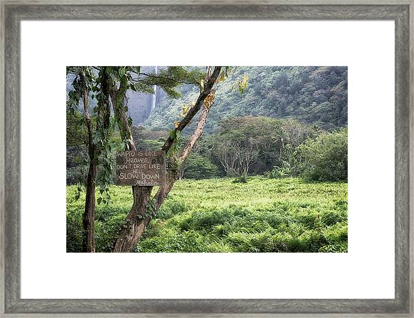 Waipio Valley Road Rules Framed Print