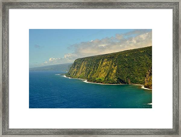 Waipio Waterfall Coastline Framed Print