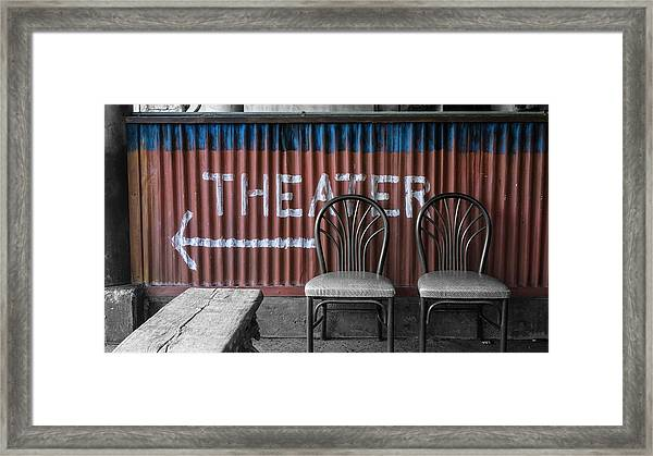 Corrugated Metal Theater Sign Framed Print