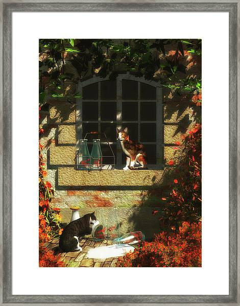 Framed Print featuring the painting Waiting For More Milk by Jan Keteleer