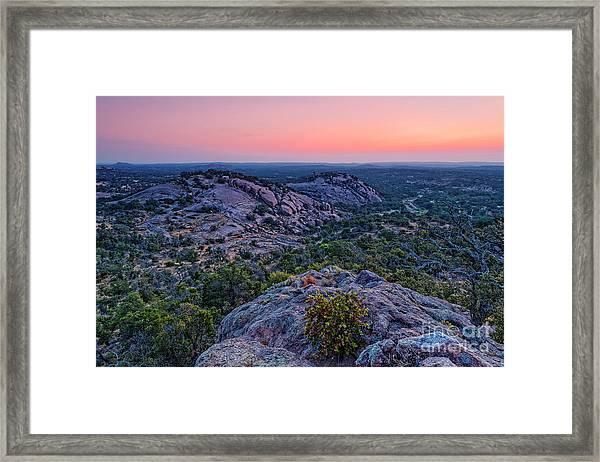 Waiting For Sunrise At Turkey Peak - Enchanted Rock Fredericksburg Texas Hill Country Framed Print