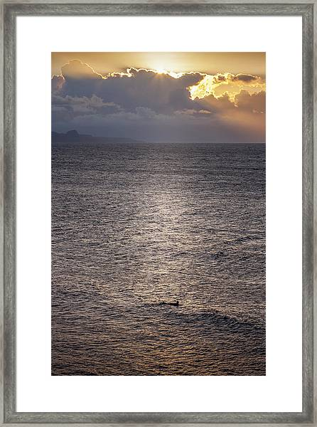 Waiting For The Last Wave Of The Day Framed Print