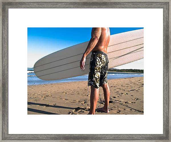 Waiting For The Surf Framed Print by Jim DeLillo