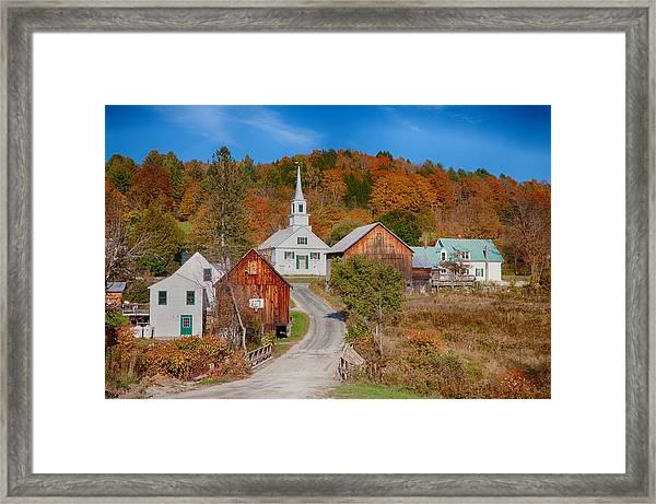 Waits River Church In Autumn Framed Print