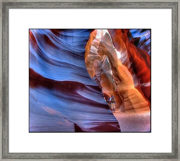 Walking In Antelope Canyon Framed Print