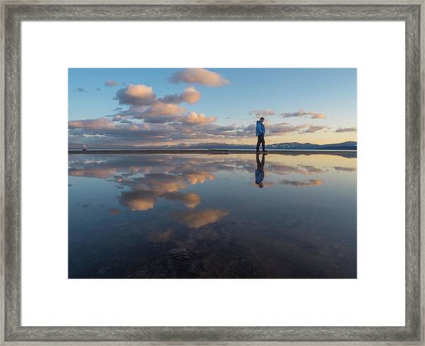 Walking In The Sunset Framed Print