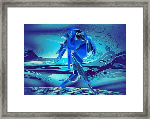 Walking On A Stormy Beach Framed Print
