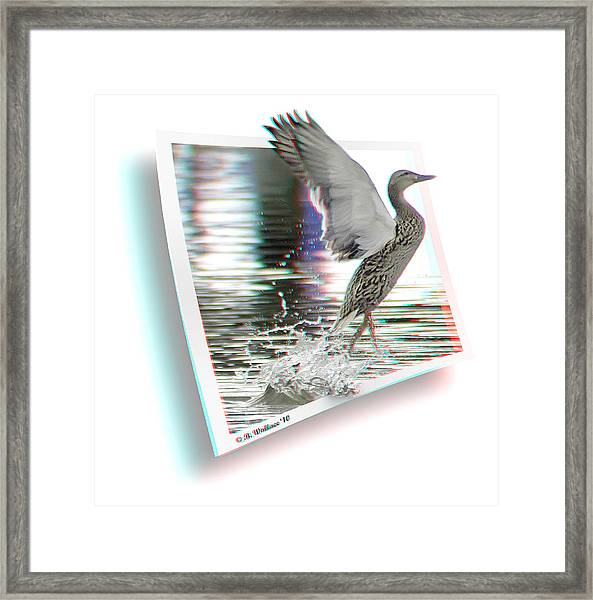Walking On Water - Use Red-cyan 3d Glasses Framed Print