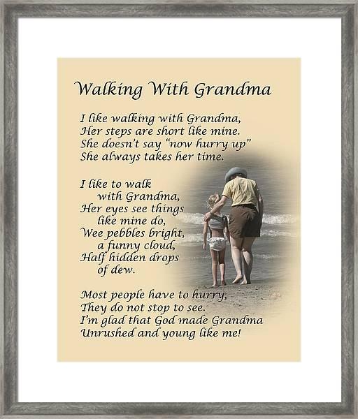 Walking With Grandma Framed Print