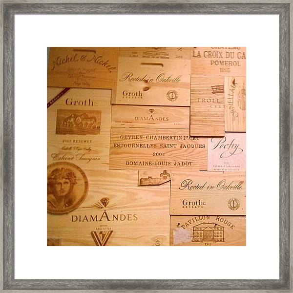 Wall Decorated With Used Wine Crates Framed Print
