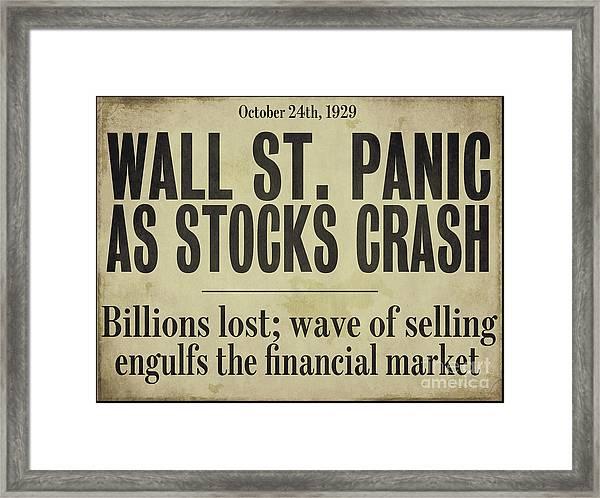 Wall Street Crash 1929 Newspaper Framed Print
