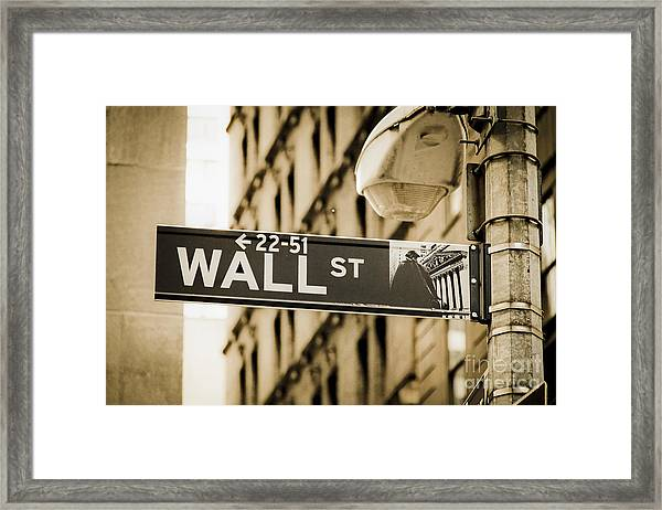 Framed Print featuring the photograph Wall Street by Juergen Held